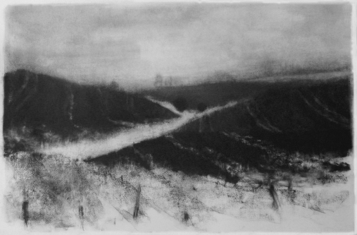 "charcoal drawing ""Field Burn #4"""