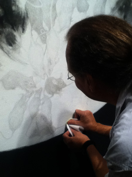 Kurt Madison adds a patina to the silverpoint